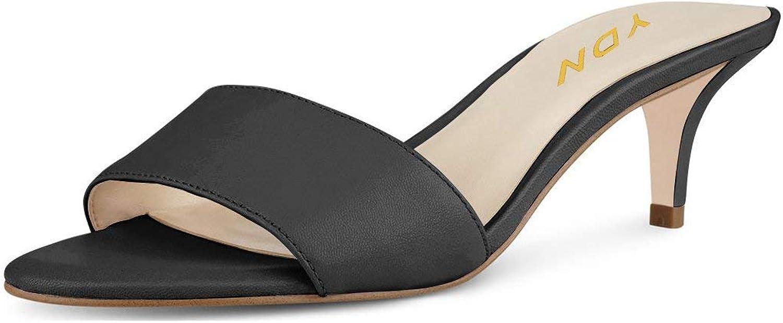 YDN Women Comfy Kitten Low Heel Mules Slip on Clog Sandals Open Toe Dress Pumps Slide shoes Black 9 (5cm)