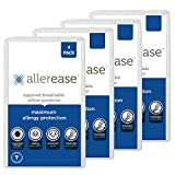 Aller-Ease Maximum Allergy Pillow Protector Standard/Queen, 4-Pack – Hypoallergenic Pillowcase, Zippered Design Prevents Collection of Bedbugs and Allergens, Machine, 4 Pack, White
