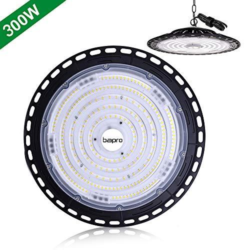 300W LED Strahler Industrielampe, bapro UFO LED Werkstattlampe 30000LM Hallenstrahler, IP65 Wasserdichte 120°Abstrahlwinkel Hallenbeleuchtung 6500K, LED High Bay Licht für Industrie[Energieklasse A++]