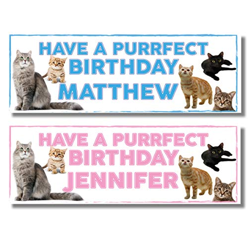 2 Personalised Cat Birthday Banners - Have a Purrfect Birthday! - Any Name - Available in Pink or Blue(Approx 3ft x 1ft) (Pink)