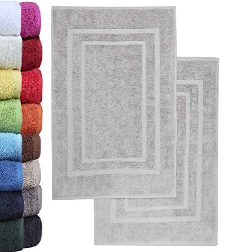 NatureMark 2er Pack Badvorleger Badematte | Premium Qualität | 100% Baumwolle | 50 x 80 cm | Duschvorleger Duschmatte Doppelpack | Farbe: Silber grau