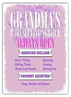 Grandma's Babysitting Service 金属板ブリキ看板警告サイン注意サイン表示パネル情報サイン金属安全サイン