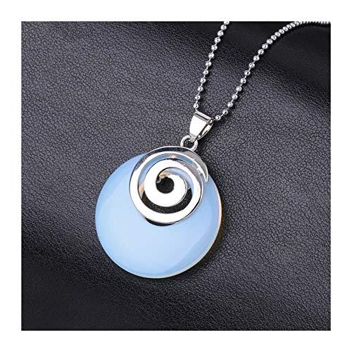 ZZYLHS Collares de Piedra Natural Colgantes Huecos con Espiral Redondo Blanco cristalino Negro ágatas de Lava Chakra Reiki Pendulum para niñas Accesorios (Metal Color : Opal)