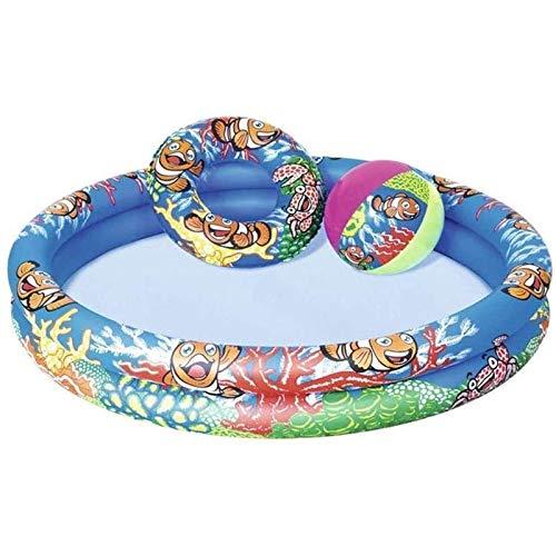 TYUIOO Piscina Inflable para niños, Playa 2 Anillo de Verano Diversión de Verano Piscina para niños, Piscina de Agua Piscina para bebés para la diversión de Verano, 122x20cm, para Edades 3+