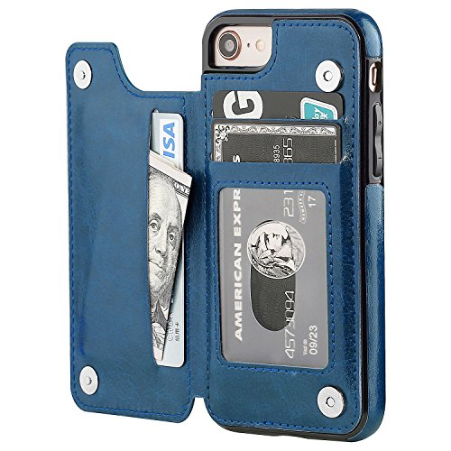 iPhone 8 Wallet Case with Card Holder,OT ONETOP iPhone 7 Case iPhone SE(2020) Wallet Premium PU Leather Kickstand Card Slots,Double Magnetic Clasp and Durable Shockproof Cover 4.7 Inch (Blue)