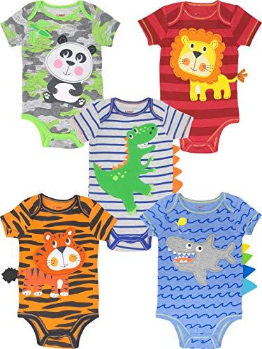 Funstuff Bodys de Animales de León, Panda, Dinosaurio, Tigre y Tiburón para Bebé Niño y Niña, 5 Uds (3-6 Meses)