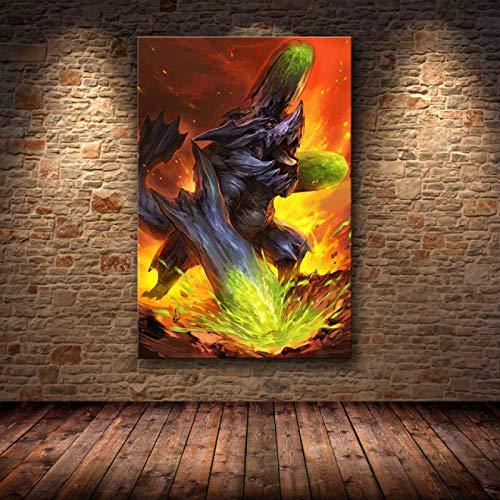 jinzhechukoumaoyi Monster Hunter World Poster e Stampe Dipinti ad Olio su Tela Wall Art Pictures Living Room Home Decor CQ-2169 50x70cm Nessuna Cornice