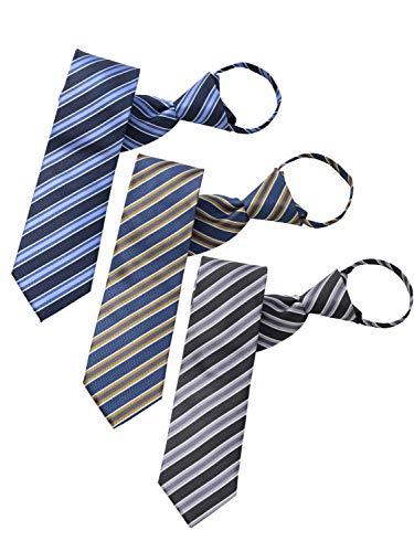 BUSINESSMAN SUPPORT(ビジネスマンサポート) ワンタッチネクタイ ジップ式簡単ネクタイ 3本セット 大剣幅7.5cm zip-c123set