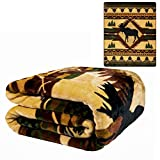 JPI Southwest Moose Lodge Plush Raschel Queen Size Blanket 79x95 Inches
