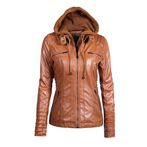 URSING Damen Lederjacke mit Kapuze Slim Fit Mantel Mantel Revers abnehmbar Zipper Outwear Oberteile Einfarbig Kunstlederjacke Damenjacke Bikerjacke übergangsjacke (XXXL, Braun)