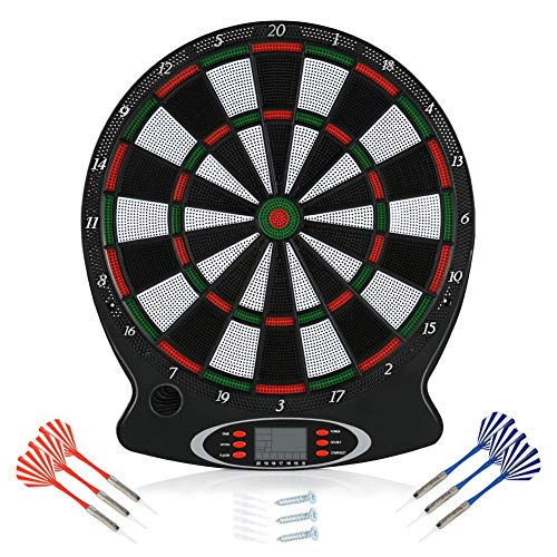 Electronic Dartboard, LCD Display 15 Inch Target Face Kit Safety Dart Board Game Set with 6 Soft Tip Darts Target Board Sports Gifts for Kids and Adults, Dartboard Size: 12.4 x 16.9inch
