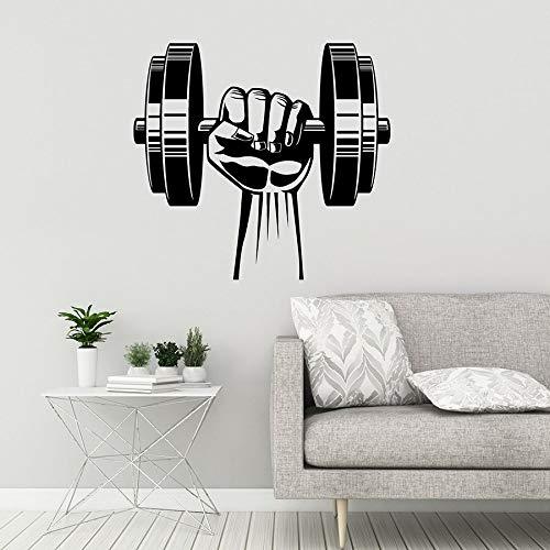 Calcomanías de pared con mancuernas gimnasio centro de fitness culturismo decoración del dormitorio del hogar pegatinas de pared de vinilo arte mural de poder