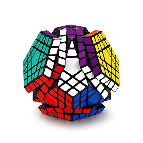 Hann Megaminx Pyraminx Speed Cube 2x2 3x3 Kilominx Megaminx Pyramid Dodecahedron Black Magic Cube Puzzle Games Twist Fidget Toys for Kids (5x5 Megaminx Black)