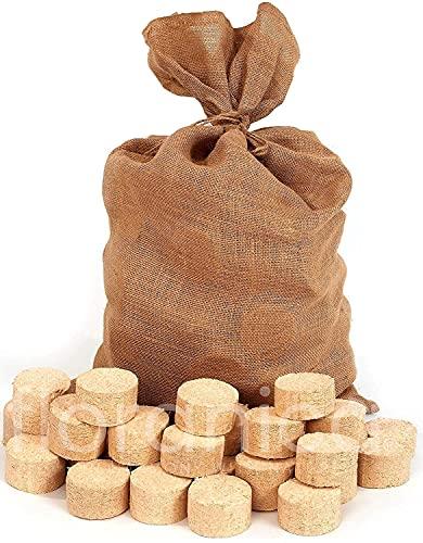 Floranica® Briqueta en Saco de Yute | 2 x 12,5kg | 100% Madera | Ø 7cm | Ancho 4-6cm | Briqueta Eco, prensada con Fuerza, sin aditivos aglutinantes | Ideal para Estufas de Azulejos, Chimenea, Horno