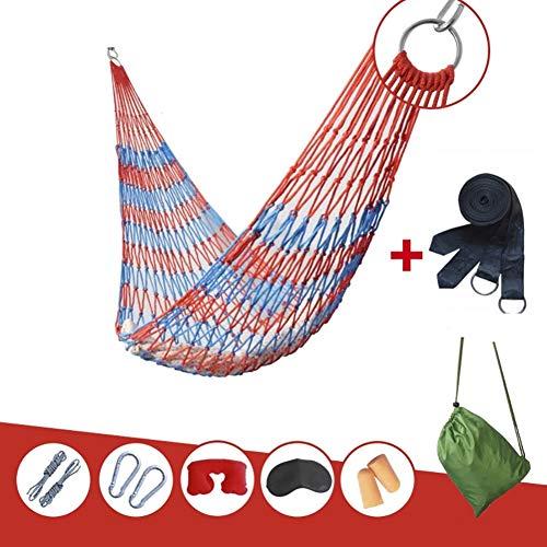 FHISAO Jardín Hamaca, Columpio portátil Transpirable jardín Hamaca de Nylon Cuelgue la Red del Acoplamiento Cama el Dormir al Aire Libre para,Red + Blue