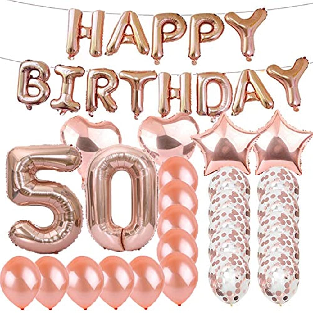 Sweet 50th Birthday Decorations Party Supplies,Rose Gold Number 50 Balloons,50th Foil Mylar Balloons Latex Balloon Decoration,Great 50th Birthday Gifts for Girls,Women,Men,Photo Props