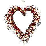 liunian459 Muttertagskranz mit Beeren, herzförmiger Kranz, künstlicher rustikaler Zweig, mit 20 LED-Dekoration