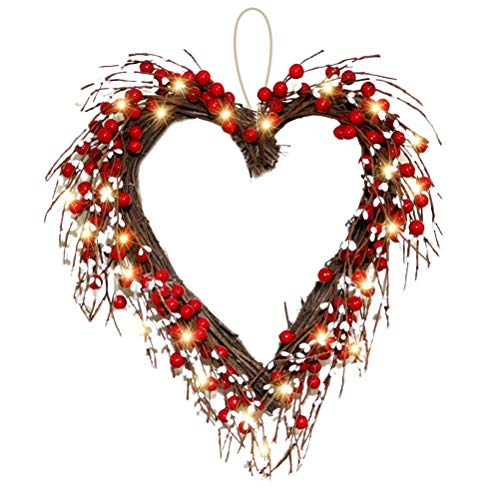Atrumly Valentines Day Wreath, Front Door Wreath Red Berries Heart-Shaped Wreath with 20 LED Battery Operated Valentines Day Indoor Outdoor Party Decor