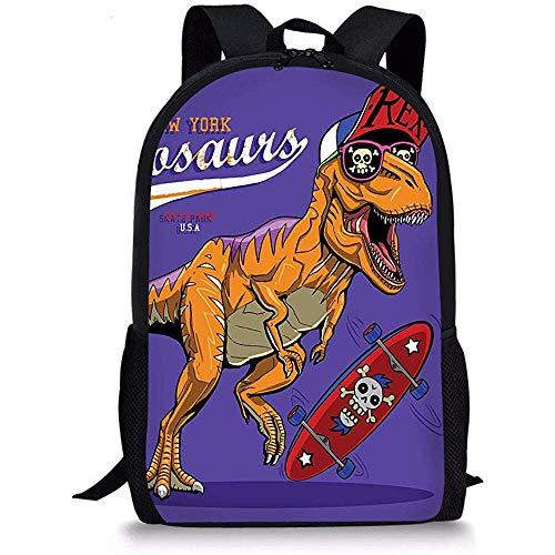 Hipster Skateboard Dinosaurier Kinder Rucksack Schulkinder Büchertasche Leichter Tagesrucksack für Jungen Mädchen