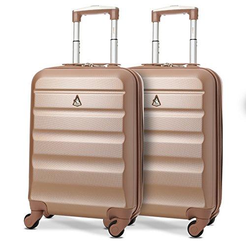 Aerolite ABS Bagage Cabine à Main Valise Rigide Léger 4 roulettes, Set de 2 (2 X Rose Or)