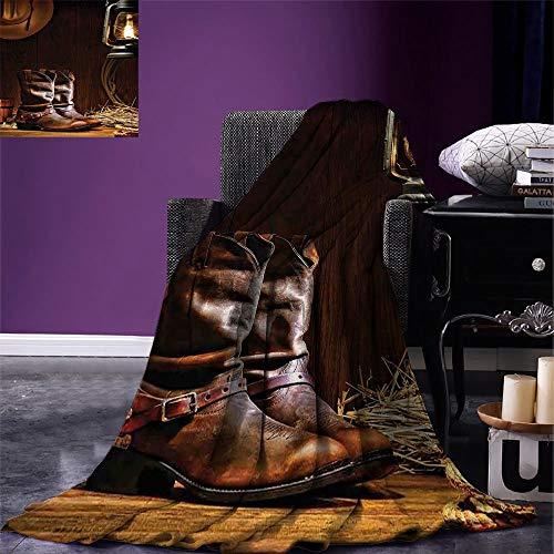 Decke Westerndekor Decke American Rodeo Cowboy Traditionelle Leder Roper Stiefel Reisen Camping Wohnzimmer Decke Decke Couch Die Ganze Saison Unisex Fleece Decke Warmes Bett Büro