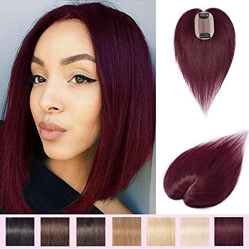 40cm Prótesis Capilares para Mujeres Extensiones de Pelo Humano Base de seda Hair Topper 100% Remy Pelo Clip-6 * 9cm, 30g, 99J Borgoña