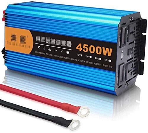 Convertidor de voltaje de piezas automáticas DC 12V 24V 48V a AC 220V 4500W Convertidor de inversor de onda sinusoidal pura con enchufe y conexión USB con pantalla LED, para portátil, almohadilla, tel