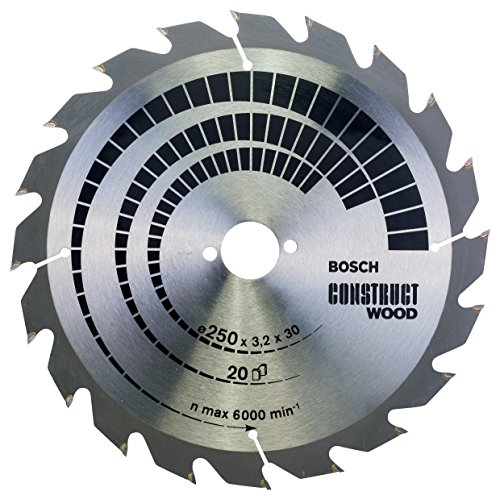 Preisvergleich Produktbild Bosch Professional Kreissägeblatt Construct Wood (Holz,  250 x 30 x 3, 2 mm,  20 Zähne,  Zubehör Kreissäge)