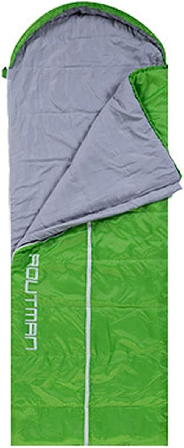 ETH Sleeping Bag Outdoor Adult Autumn and Winter Thick Warm Lunch Break Ultra Light Camping Double Indoor Four Seasons Cotton Sleeping Bag Durable (color   Green, Design   Left Open)