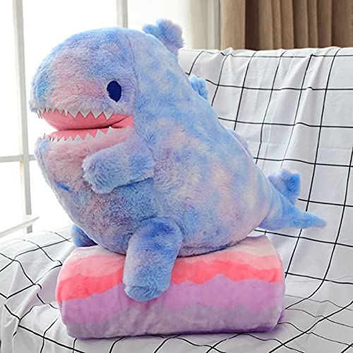 ydlcxst 60Cm Plush Dinosaur Toy With Blanket 2 In 1 Throw Pillow Stuffed Animal Dinosaur Soft Doll Kids Toys Birthday Gift For Children 60Cm Blue