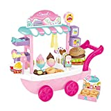 NICEME Kids Pretend Play Ice Cream Cart Set Pretend Play Food,36 PCS Educational Dessert Candy Trolley Truck Great Gift for Girls and Boys