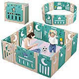 Baby Playpen, Dripex Upgrade Foldable Kids Activity Centre Safety Play Yard Home Indoor Outdoor Baby Fence Play Pen NO Gaps with Gate for Baby Boys Girls Toddlers (14 Panel, Green + Brown)