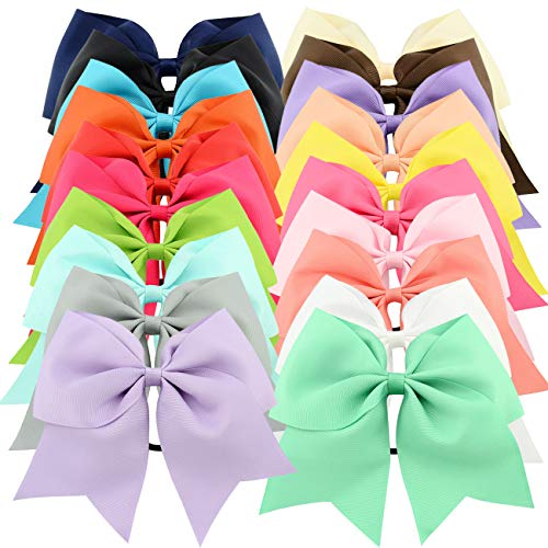 20pcs 8' Grosgrain Ribbon Large Cheer Hair Bow Ties Ponytail Holder Elastic Band Cheerleading Ties for Girls Teens Senior Children Kids Toddlers and Women