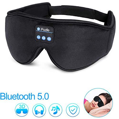 Bluetooth Augenmaske,Pozlle Schlafmaske mit Bluetooth 5.0Kopfhörer für Flugzeug Schlafbrille Wireless Musik Headset Eye Mask für Schlaf Reisen Entspannung