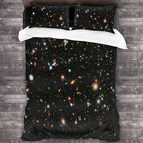 Juego de sábanas de telescopio Espacial Juego de sábanas Lavables a máquina Juego de Funda nórdica Juego de Fundas de Cama 3 Piezas Juego de edredón de Dormitorio