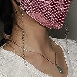 Yienate Mode Multifunktionale Kristall Maske Kette Gesicht Abdeckung Halter mit Strass Maske Zubehör Kette Brille Kette Halskette für Frauen und Mädchen (Silber)