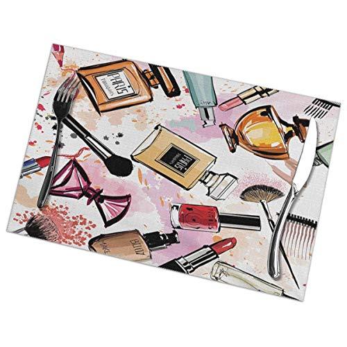 NE Girly Kosmetik und Make-up Thema Muster mit Parfüm und Lippenstift Nagellack Pinsel, moderne City Tischsets für Esstisch, waschbare Tischsets hitzebeständig (30,5 x 45,7 cm) 6er-Set