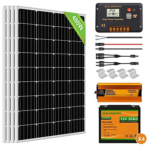ECO-WORTHY 2 kW·h Solarsystem 480W 24V mit Wechselrichter und Batterie netzunabhängig für Wohnmobil: 4 Stücke 120W Solarmodul + 30A Laderegler + 4 Stücke 30Ah Lithiumbatterie + 1500W Wechselrichter