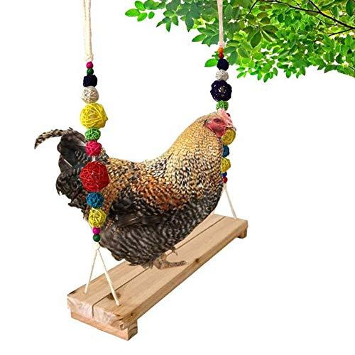 Kippenschommel kippenbaars kippenhouten standaard kippenspeelgoed voor kippen handgemaakt kippenspeelgoed voor grote vogelpapegaaien kippenharen voor kippen natuurlijke handgemaakte vogelschommel