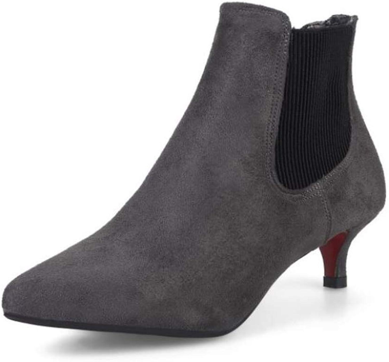 Women Western Low Heels Stiletto Boots Pointy Toe Kitten Ankle Booties for Office