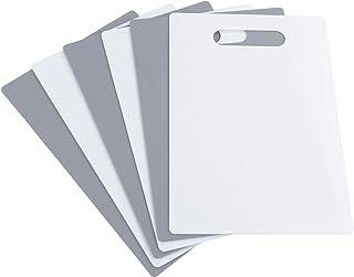 Idomy Plastic Kitchen Cutting Board Mats Set, Set of 6, White and Grey