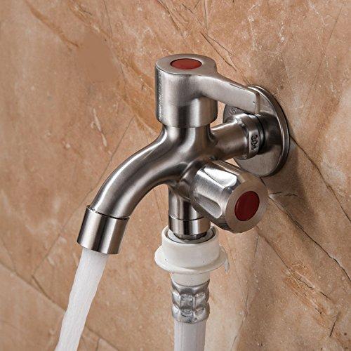 Global Brands Online Robinet d'eau de vidange Brossã© Ã Double Embout en Acier Inoxydable lavabo Multifonctionnel