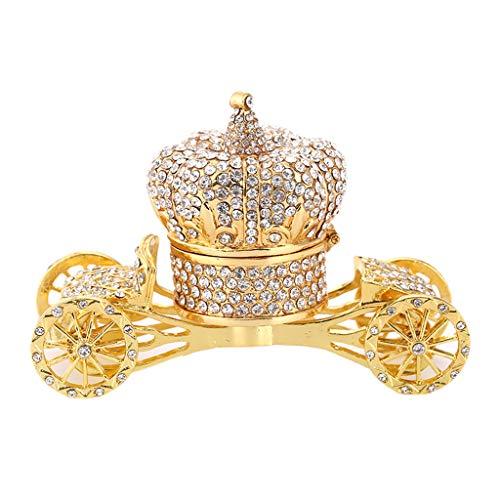 LessLIFE Caja de joyería, Carro de oro con bisagras caja de la baratija pintada a mano patrones baratija caja de joyería