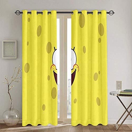 Cortinas opacas con diseño de Bob Esponja para dormitorio infantil, cortinas opacas totales, 106,7 x 114,3 cm
