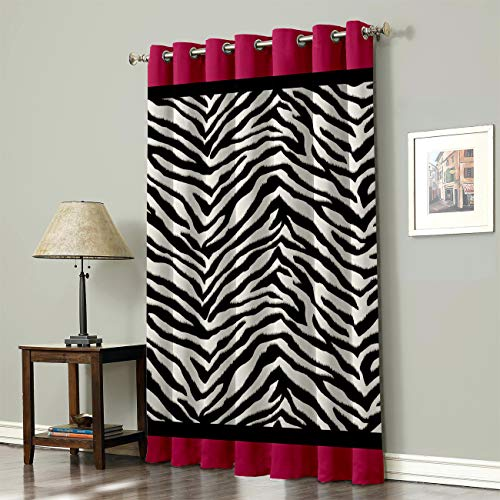 SODIKA Grommet Top Curtains for Living Room Bedroom Window Treatment Curtain Draperies - Zebra Pattern Rose Red Black 52 x 72 inch,1 Panel