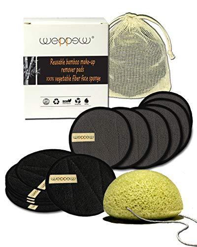 Herbruikbare make-up remover pads, 6 In Bamboe carbon, 6 In Bamboe en Katoenen Doek Gezicht en Oog Reiniging Doek, Zachte Konjac Spons, Waszak, Exfoliating Scrub Woman Men's Scrub