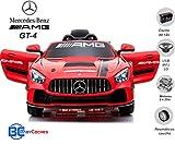 BC BABY COCHES Coche electrico para niños 12V con Mando Control Remoto 2.4Ghz - Mercedes AMG-GT 4 Coche Batería 12v - Ruedas con NEUMÁTICOS Caucho - Asa de Transporte.
