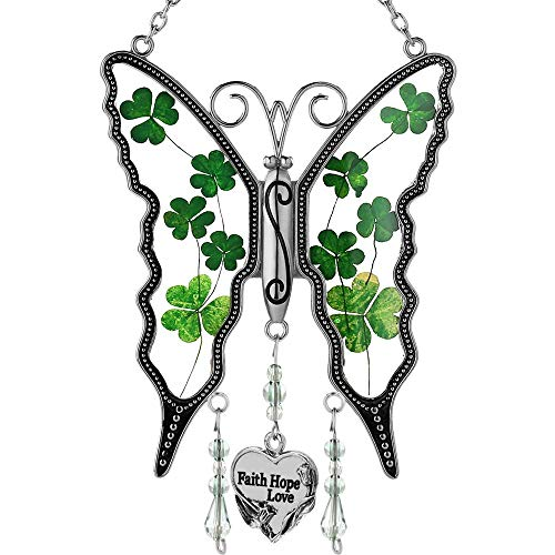 KY&BOSAM Shamrock New Butterfly Faith Hope Love Glass Irish Celtic Sun-Catcher Art Glass Suncatchr St Patrick's Day Decoration Irish Gift in-Law Gift Irish Family