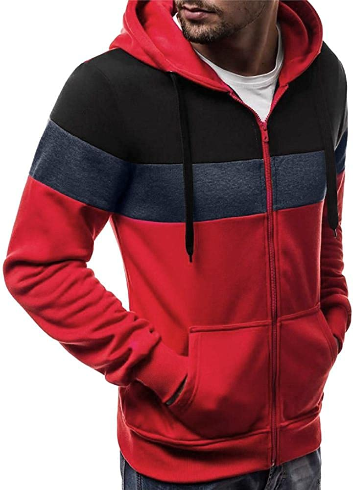 Men's Zip Up Hooded Sweatshirts Cropped Novelty Long Sleeve Male College Fashion Athletic Hoodies Sports Patchwork