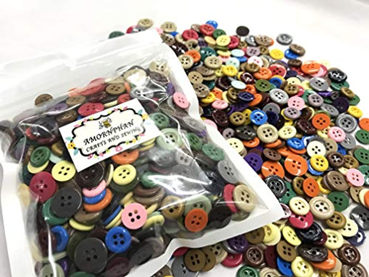 Amornphan 600 Pieces Assorted Colors and Size 2 and 4 Holes Round Resin Buttons for Crafts Sewing DIY Handmade Scrapbooking